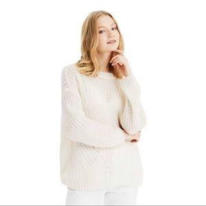 American Eagle Women Oversized Slouchy Sweater Cream Knit Crewneck